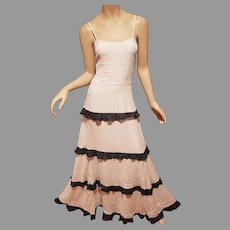 Tiered Ruffled Shabby Chic Maxi black and white polka dot dress spaghetti adjustable  straps