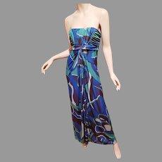 Strapless Brazilian Printed Pucciesque Design Maxi dress Shirred bodice wrap slit Maxi skirt