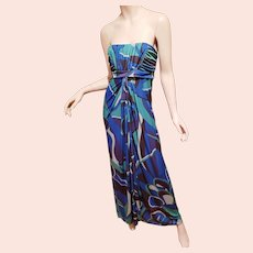 Strapless Brazilian Printed Pucciesque Design Maxi dress Shirred bodice wrap slit Maxi skirt