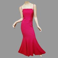 Vtg Strapless Neiman  Marcus Jill Stuart red cerise Maxi Mermaid gown