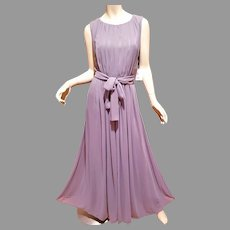 Vtg Draped Grecian Calvin Klein Maxi Fluid Gown Chiffon with own sash belt.