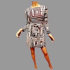 Vtg L'Aiglon Original Mini Brown and white Swirl dress w/ belt Awsome