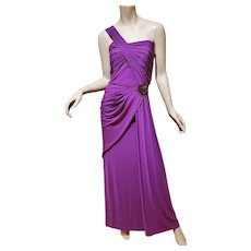 Runway Purple One shoulder draped Couture gown side embellished Grecian