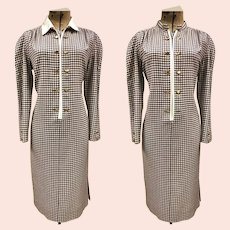 Vtg 80's Louis Feraud brown/beige Gingham Shirt Dress golden Buttons