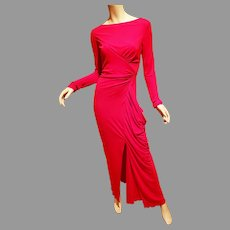 Badgley Mischka Cherry Red Runway Asymmetrical Draped Bodycon Gown