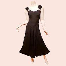 Vtg Jet Black Boho Chic Midi dress  silver beaded side Bows shirred skirt