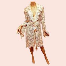 Opera French Lace  layering  Kimono/ Robe Bell slit sleeves Ruffle front Casadei
