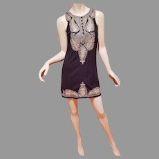 Ethnic Chic gold Embroidered/sequined black tunic short dress