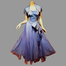 Vtg 1950's Strapless Evening Ball Gown w/Shrug Blue w/ dark  Blue Tulle Overlay