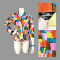 Vtg 1960's Screen print Beatnik Cool Jazz Blouse Cotton Made in Japan