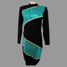 Vtg St. John Evening Santana Knit Dress Aquamarine sequins Size 6