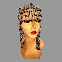 Vtg 1920's Beaded  Flapper cap  Headpiece Gatsby Roaring 20's