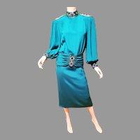 Vtg Lillie Rubin silk stone Embellished dress High Neck Sash
