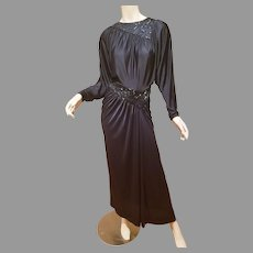Vtg  Jack Bryan draped beaded slinky hollywood Gown dolman wings