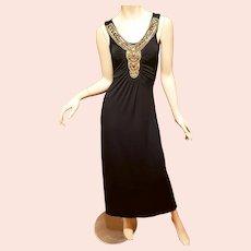 Vtg Gold Silver Egyptian Revival Embellished maxi Dress