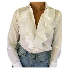 Vtg Ralph Lauren Iconic white Ruffled cotton Blouse  P/S