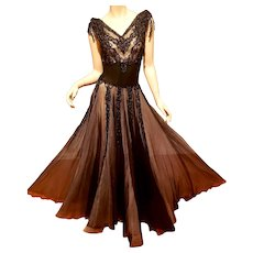 Vtg 1930 Rare black heavily beaded dress sheer 2 layers Black /Cream tulle