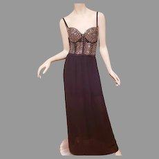 Vtg Embellished Molded Bra top Maxi gown black/silver  London