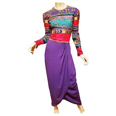 Vtg Jack Bryan Purple pleated sequin stone embellished beaded Gown circa late 1970's