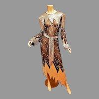 Vtg 1960's Lillie Rubin Layering silk mirrored beaded & sequined asymmetrical flapper dress w/belt