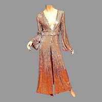 Hollywood Regency Look 90's doing 20's Fully silver sequins Coat dress open front.