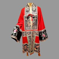 Antique Kimono Late Qing Dynasty Embroidered & Metallic silver red & green Design