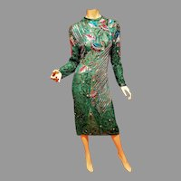 Vtg Silk Flapper Layering heavily Embellished dress Circa 1960's