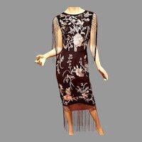Vtg Embroidered Fringed floral Midi Dress size 6