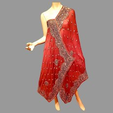 Vtg Dupatta Antique Dress /Wrap Heavy gold hand Beading  Embroidery on brick silk Georgette