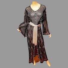 Vintage Egyptian Assuit Kimono Dress Open Robe silver metal hand work w/belt