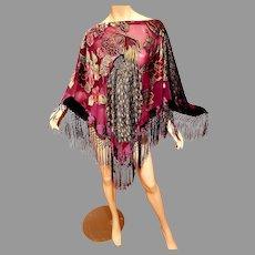 Vtg Purple Poncho Kimono Shawl top burntout velvet