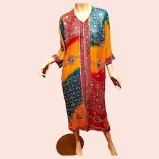 Vtg Indian Dupatta Venice beaded Embellished Heavily Kaftan Rainbow Long Kimono