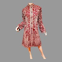 Vtg Kashmiri Indian Maroon Coat/Long jacket Cashmere Pure Wool Floral Hand Embroidered Paisley Stitching Romantic