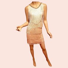 Vtg 1960's  Flapper style Fringe dress with Rhinestone trim Eggshell