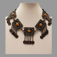 Vtg Tribal Ethnic Unique Brass coin Charm Middle Eastern Necklace