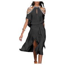 Cold Shoulder Metallic straps semi wrap midi dress with belt Crepe