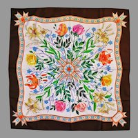 Vtg Gucci Signed Accornero silk Botanical floral scarf Hand Rolled Italy