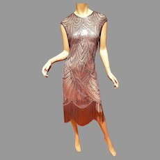 Vtg Silver Layering Embellished Flapper fringed dress Sequins/Beads  Circa 1960