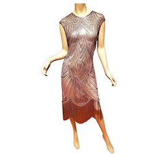 Vtg Silver Layering Embellished Flapper fringed dress Sequins/Beads  Circa 1960
