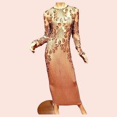 Vtg  Golden Hollywood layering silk Embellished maxi Gown