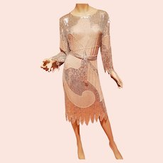 Vtg Ballet Slipper Pink  Layering silk Sequined Flapper dress/w/Belt. Petal Rims Silver