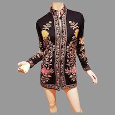Vtg Hand Embroidered Kashmiri style Wool/Cashmere Tunic Jacket Mandarin Collar & Style