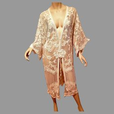 Vtg Layering Raised Lace Kimono Robe semi sheer cloak tie front