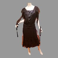 Antique 1920's Flapper dress Sequins on sheer netting and silk