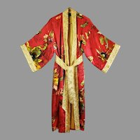 Vtg Belted kimono Robe Gold Embroidered Floral