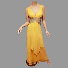 Vtg Jeweled  Grecian chiffon yellow maxi gown with open back details
