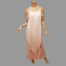 Vtg 1960's Grecian Layered Trapeze maxi gown side ties pearl sequins wide collar