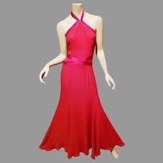 Vtg Couture Carolina Herrera New York silk halter top Column gown/ train