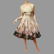 Vtg  brushed cotton hand painted print  swiss Alps full sweep dress
