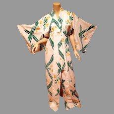 Vtg Cotton painted Japanese Kimono